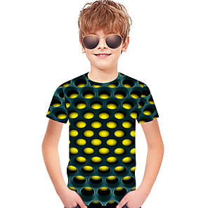 cheap Synthetic Lace Wigs-Kids Toddler Boys' Active Basic Rubik's Cube Polka Dot Geometric 3D Print Short Sleeve Tee Blue