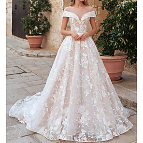 cheap Wedding Wraps-A-Line Wedding Dresses Jewel Neck Sweep / Brush Train Lace Tulle Short Sleeve Country See-Through Plus Size with Crystals Appliques 2020