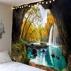 cheap Wall Tapestries-Mooie Cave Waterval Print Muur Hippie Tapestry Polyester Stof Home Decor Muur Tapijt Tapijten Opknoping Grote Bank Deken