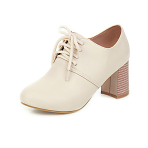 cheap Women's Heels-Women's Oxfords 2020 Chunky Heel Round Toe PU Preppy / Minimalism Spring &  Fall Pink / White / Beige / Party & Evening