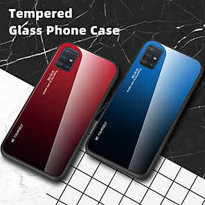 cheap Samsung Case-Luxury Gradient Tempered Glass Phone Case For Samsung Galaxy A91 A81 A50 A01 A51 A71 A90 5G A80 A70 A60 A40 A30 A20 A10 A20e Shockproof Back Cover Soft TPU Silicone Edge Protection