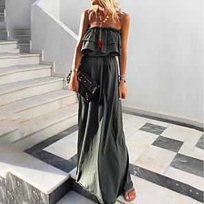 cheap Maxi Dresses-Women's Maxi A Line Dress - Sleeveless Solid Color Strapless Green S M L XL