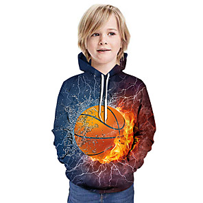 cheap Women's Boots-Kids Boys' Active Street chic 3D Patchwork Print Long Sleeve Hoodie & Sweatshirt Rainbow
