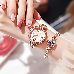cheap Quartz Watches-Women's Quartz Watches Luxury Fashion Alloy Chinese Quartz Rose Gold White+Golden Silver Water Resistant / Waterproof 30 m Analog - Digital One Year Battery Life