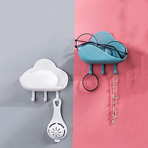 cheap Bathroom Gadgets-Cloud Shape Hook Strong Viscose Kitchen Wall Hanging Sticky Hook Bathroom Free Punch Soap Box Drain Rack