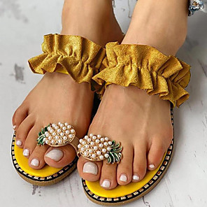 cheap Women's Sandals-Women's Sandals Boho / Beach Flat Sandals Summer Flat Heel Open Toe Boho Daily Beach PU Yellow / Beige