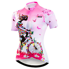 cheap Cycling Jerseys-21Grams Women's Short Sleeve Cycling Jersey Polyester Elastane Purple Yellow Red Floral Botanical Bike Jersey Top Mountain Bike MTB Road Bike Cycling Breathable Quick Dry Moisture Wicking Sports