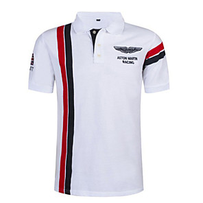 cheap Outdoor IP Network Cameras-Men's Color Block Stripes Slim Polo Shirt Collar White / Red / Navy Blue