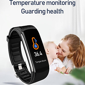 cheap Smartwatches-C6T Fitness Tracker Support Temperature/ Blood Pressure Measurement, Waterproof Bluetooth Wristband with TWS Headphone for IOS/Android Phones