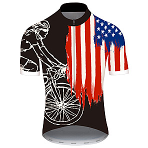 cheap Thermometers-21Grams Men's Short Sleeve Cycling Jersey Spandex Polyester Black / Red American / USA National Flag Bike Jersey Top Mountain Bike MTB Road Bike Cycling UV Resistant Breathable Quick Dry Sports