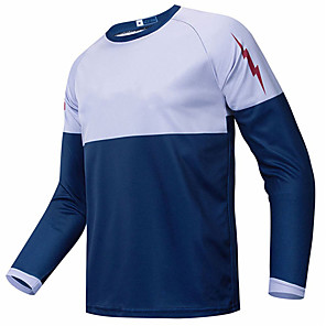 cheap Cycling Jerseys-21Grams Men's Long Sleeve Cycling Jersey Downhill Jersey Dirt Bike Jersey Blue / White Patchwork Bike Jersey Top Mountain Bike MTB Road Bike Cycling UV Resistant Breathable Quick Dry Sports Clothing