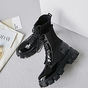 cheap Women's Boots-Women's Boots Flat Heel Round Toe Leather Mid-Calf Boots Spring &  Fall Black