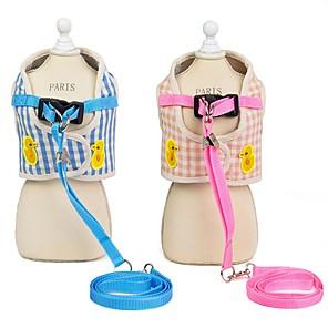 cheap Dog Clothes-Dog Harness Leash Walking Running Vest Plaid / Check Stripes Cotton Husky Golden Retriever Beagle Bulldog Cocker Spaniel Bichon Frise Pink Blue 1pc