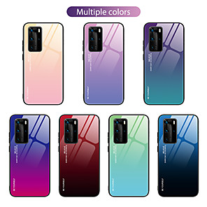 cheap Huawei Case-Case For Huawei P40 P40 Pro Nova 6 Nova 6SE two-color gradient pattern tempered glass back plate TPU frame two-in-one anti-fall mobile phone case JMGD