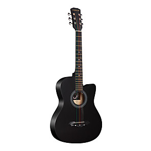 cheap Microphones & Accessories-Guitar Wooden Professional Tools 38 Inch Black Acoustic Professional Musical Instrument for Beginners and Youths Students