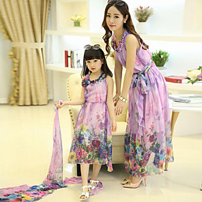 cheap Movie & TV Theme Costumes-2 Piece Mommy and Me Active Boho Floral Ruffle Print Sleeveless Dress Purple