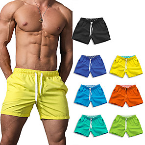 cheap Wetsuits, Diving Suits & Rash Guard Shirts-Men's Swim Shorts Swim Trunks Bottoms Breathable Quick Dry Drawstring - Swimming Water Sports Solid Colored Summer / Micro-elastic