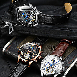 cheap Quartz Watches-Men's Mechanical Watch Automatic self-winding Genuine Leather 30 m Water Resistant / Waterproof Moon Phase Day Date Analog Casual Fashion - Golden / Brown Black / Silver Black+Gloden One Year Battery