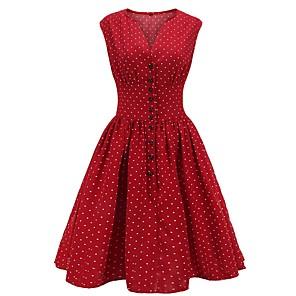 cheap Women's Sandals-Women's A Line Dress - Sleeveless Polka Dot V Neck Wine Orange Navy Blue S M L XL XXL XXXL XXXXL
