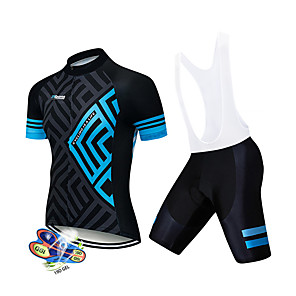 cheap Cycling Jersey & Shorts / Pants Sets-21Grams Men's Short Sleeve Cycling Jersey with Bib Shorts Black / Blue Geometic Bike Clothing Suit UV Resistant Breathable 3D Pad Quick Dry Sweat-wicking Sports Solid Color Mountain Bike MTB Road