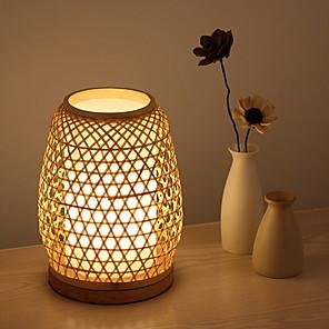 رخيصةأون أباجورات-مصباح الطاولة بسيط من أجل داخلي 220V خشب