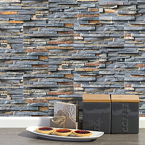 cheap Wall Stickers-20x10cmx9pcs Rustic Stone Brick Wall Stickers Retro Oil-proof Waterproof Tile Wallpaper For Kitchen Bathroom Ground Wall House Decoration