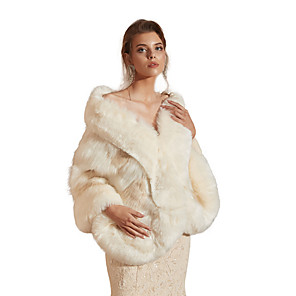 cheap Wedding Wraps-Sleeveless Capes Faux Fur Party / Evening Shawl & Wrap / Women's Wrap With Button