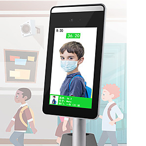 cheap Smartphones-HQCAM Face Recognition Thermo Camera Body Temperature Detector Access Control Non-contact Fever Imager Thermal Camera ip with Voice Alarm 2 mp IP Camera Indoor Support 0 GB