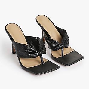 cheap Women's Boots-Women's Slippers & Flip-Flops Stiletto Heel Open Toe PU Summer Gold / Black / Silver