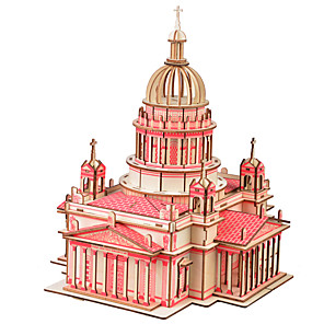 cheap 3D Puzzles-3D Puzzle Jigsaw Puzzle Wooden Puzzle Church Cathedral DIY Natural Wood Classic Kid's Unisex Toy Gift