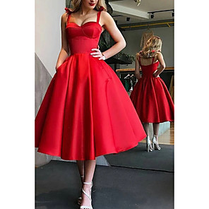 cheap Prom Dresses-Ball Gown Minimalist Red Party Wear Prom Dress Spaghetti Strap Sleeveless Tea Length Satin with Pleats 2020