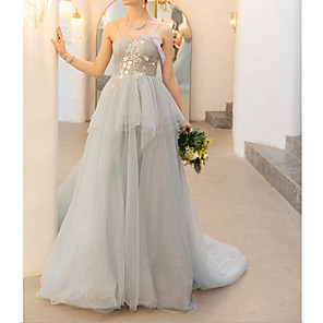 cheap Prom Dresses-Ball Gown Peplum Blue Engagement Formal Evening Dress Spaghetti Strap Sleeveless Court Train Polyester with Embroidery 2020