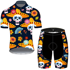 cheap Cycling Jerseys-21Grams Men's Short Sleeve Cycling Jersey with Shorts Black / Yellow Skull Floral Botanical Bike Clothing Suit UV Resistant Breathable Quick Dry Sweat-wicking Sports Skull Mountain Bike MTB Road Bike