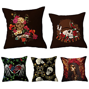 cheap Pillow Covers-5 pcs Throw Pillow Simple Classic 45*45 cm Linen Pillow Case Animal Graphic Prints Casual Retro Country