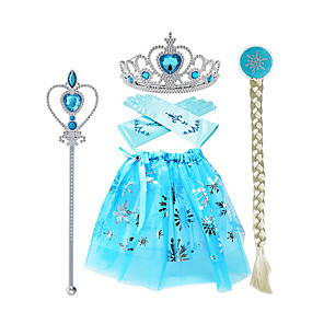 cheap Movie & TV Theme Costumes-Princess Elsa Skirt Gloves Outfits Girls' Movie Cosplay Halloween Blue Skirts Gloves Crown Children's Day Masquerade Rhinestone Fabric Plastic / Wand / Wig / Wand / Wig