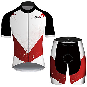 cheap Cycling Jersey & Shorts / Pants Sets-21Grams Men's Short Sleeve Cycling Jersey with Shorts Red and White Patchwork Geometic Bike Clothing Suit UV Resistant Breathable Quick Dry Sweat-wicking Sports Solid Color Mountain Bike MTB Road