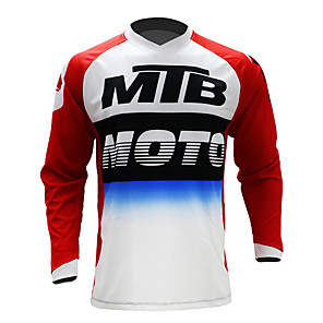 cheap Cycling Jerseys-21Grams Men's Long Sleeve Cycling Jersey Downhill Jersey Dirt Bike Jersey Red / White Stripes Patchwork Gradient Bike Jersey Top Mountain Bike MTB Road Bike Cycling UV Resistant Breathable Quick Dry