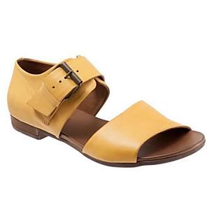 cheap Women's Sandals-Women's Sandals Flat Sandals Summer Flat Heel Open Toe Daily PU Black / Yellow