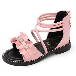 cheap Kids' Sandals-Girls' Sandals Comfort / Children's Day Microfiber Little Kids(4-7ys) White / Black / Pink Summer