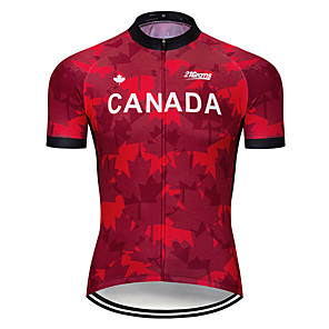 cheap Cycling Jerseys-21Grams Men's Short Sleeve Cycling Jersey Wine Red Canada National Flag Bike Jersey Top Mountain Bike MTB Road Bike Cycling UV Resistant Breathable Quick Dry Sports Clothing Apparel / Stretchy