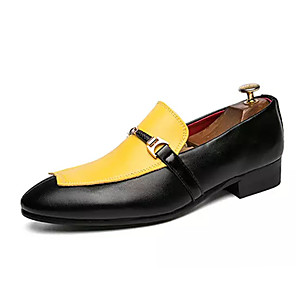 cheap Men's Slip-ons & Loafers-Men's PU Spring & Summer Casual Loafers & Slip-Ons Non-slipping Color Block Yellow / Red / Black