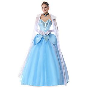 cheap Movie & TV Theme Costumes-Princess Elsa Dress Flower Girl Dress Women's Movie Cosplay A-Line Slip Cosplay Light Blue Dress Gloves Headwear Halloween Carnival Masquerade Tulle Polyester