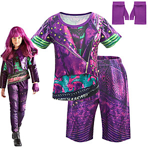 cheap Movie & TV Theme Costumes-Descendants Cosplay Cosplay Costume Outfits Girls' Movie Cosplay Cosplay Halloween Purple Top Pants Gloves Carnival Masquerade Polyester