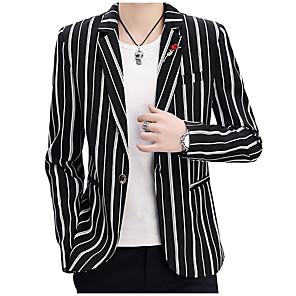 cheap Men's Slip-ons & Loafers-Men's Blazer Notch Lapel Polyester Khaki / White / Black