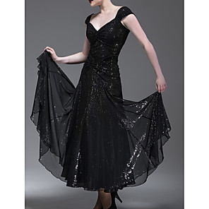 cheap Ballroom Dancewear-Ballroom Dance Dress Pleats Paillette Women's Performance Cap Sleeve Polyester Taffeta