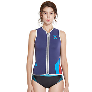 cheap Wetsuits, Diving Suits & Rash Guard Shirts-Dive&Sail Women's Wetsuit Top 3mm SCR Neoprene Jacket Windproof Sleeveless Front Zip - Swimming Diving Water Sports Autumn / Fall Spring Summer / Stretchy