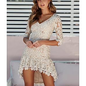 cheap Maxi Dresses-Women's Asymmetrical Sheath Dress - 3/4 Length Sleeve Solid Color V Neck Elegant White Black S M L XL XXL XXXL
