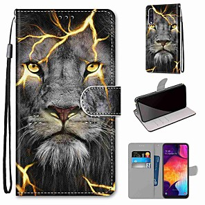 cheap Samsung Case-Case For Samsung Galaxy S20 / S20 Plus / S20 Ultra Wallet / Card Holder / with Stand Full Body Cases Lion PU Leather / TPU for A51 / A71 / A81 / A91 / A01 / A21 / A50(2019) / A30s(2019) / A30(2019)