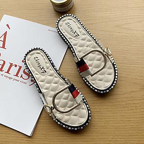 cheap Women's Sandals-Women's Slippers & Flip-Flops 2020 Flat Heel Open Toe PU Classic / Minimalism Spring &  Fall / Spring & Summer Pink / White / Black