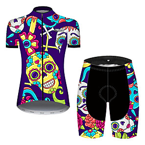 cheap Tools & Accessories-21Grams Women's Short Sleeve Cycling Jersey with Shorts Spandex Polyester Violet Skull Floral Botanical Bike Clothing Suit Breathable Quick Dry Ultraviolet Resistant Sweat-wicking Sports Skull